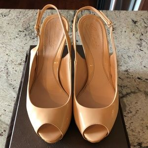 SALE! Gucci Vitello Vernice Soft Sable Peep-toe